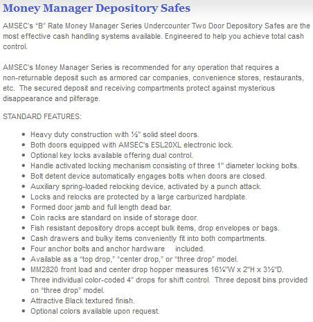 Depository Safe Features